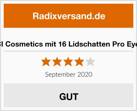 DE'LANCI Cosmetics mit 16 Lidschatten Pro Eye shadow Test