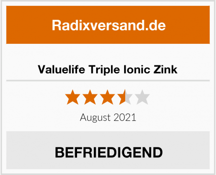 Valuelife Triple Ionic Zink Test
