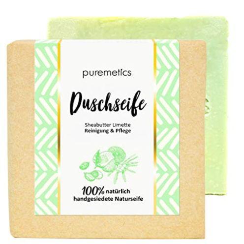 puremetics Zero Waste straffende Dusch-Seife Sheabutter Limette